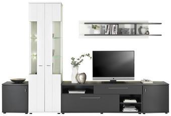 OBÝVACÍ STĚNA, barvy grafitu, bílá - bílá/černá, Design, kov/kompozitní dřevo (310/205/42cm) - Carryhome