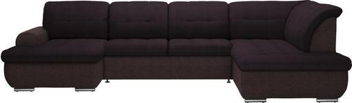 WOHNLANDSCHAFT in Textil Braun  - Silberfarben/Braun, Design, Textil (154/342/208cm) - Cantus