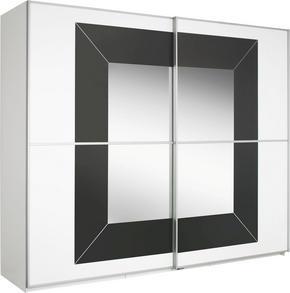 SKJUTDÖRRSGARDEROB - vit/alufärgad, Design, metall/glas (226/223/69cm) - Cantus