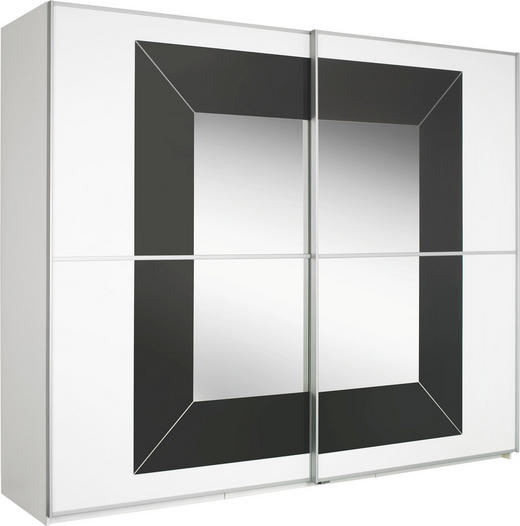 SKŘÍŇ S POSUVNÝMI DVEŘMI, šedá, bílá - šedá/bílá, Design, kov/kompozitní dřevo (270/223/69cm) - Cantus