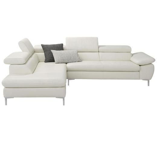 WOHNLANDSCHAFT in Leder Weiß - Alufarben/Weiß, Design, Leder/Metall (224/280cm) - Chilliano