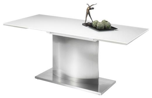ESSTISCH Edelstahlfarben, Weiß - Edelstahlfarben/Weiß, Design, Glas/Metall (180(260)/90/76cm) - Carryhome