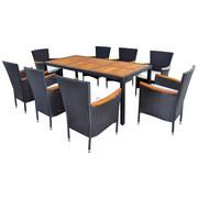 GARTENSET Akazie mehrschichtige Massivholzplatte (Tischlerplatte), teilmassiv Stahl - Taupe/Dunkelgrau, Design, Holz/Textil (//null)