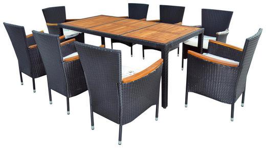 GARTENSET Akazie mehrschichtige Massivholzplatte (Tischlerplatte), teilmassiv Stahl - Taupe/Dunkelgrau, Design, Holz/Textil
