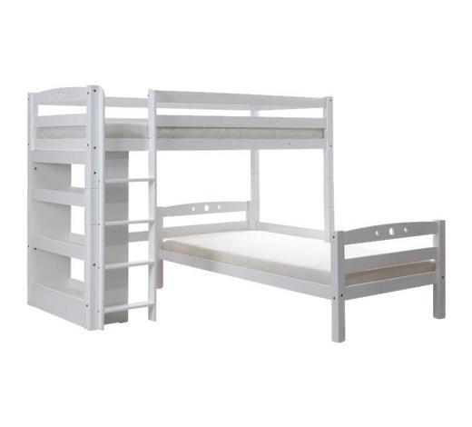 ETAGENBETT Buche massiv 90/200 cm Weiß  - Weiß, Basics, Holz (90/200cm) - Carryhome