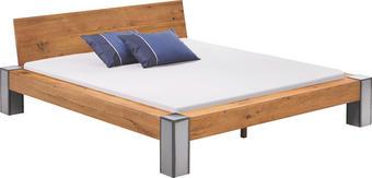 BETT Wildeiche massiv 180/200 cm - Eichefarben, Design, Holz/Metall (180/200cm) - Hasena