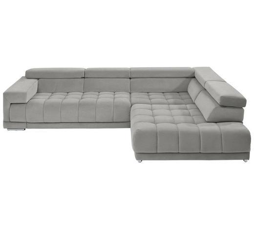 WOHNLANDSCHAFT in Textil Silberfarben, Hellgrau  - Chromfarben/Silberfarben, Design, Textil/Metall (323/222cm) - Beldomo Style