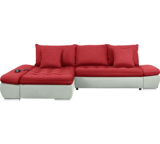 WOHNLANDSCHAFT in Textil Rot, Weiß - Chromfarben/Rot, Design, Textil/Metall (200/309cm) - Hom`in