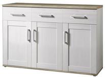 SIDEBOARD Weiß, Lärchefarben  - Silberfarben/Lärchefarben, KONVENTIONELL, Holzwerkstoff/Kunststoff (140/89/45cm) - Xora