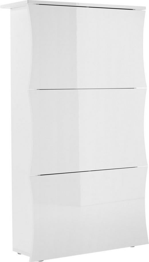 SCHUHSCHRANK Hochglanz, lackiert Weiß - Weiß, Design (71/123/27cm) - Voleo