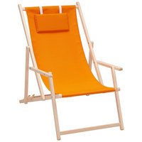 STRANDSESSEL - Buchefarben/Orange, Design, Holz/Textil (56/66/103cm)