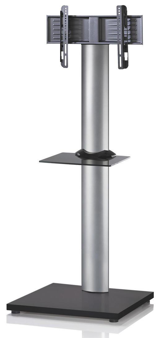TV-RACK Glas, Metall Schwarz, Silberfarben - Silberfarben/Schwarz, KONVENTIONELL, Glas/Metall (68/174/60cm)
