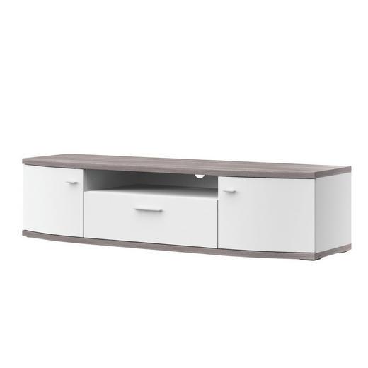 TV-ELEMENT Eichefarben, Weiß - Eichefarben/Alufarben, Design, Kunststoff/Metall (165,1/40,5/50cm) - Xora