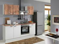 KÜCHENBLOCK E-Geräte, Spüle, Soft-Close-System   - Weiß/Pinienfarben, KONVENTIONELL, Holzwerkstoff (200cm) - Xora