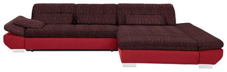 WOHNLANDSCHAFT in Textil Rot - Chromfarben/Rot, Design, Kunststoff/Textil (341/204cm) - Xora