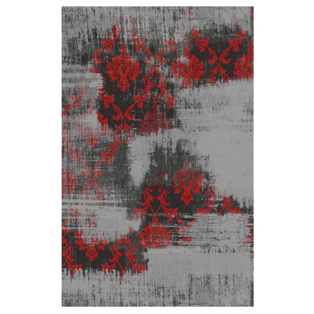 Novel Vintage-Teppich Diana Melody , Grau, Rot , Textil , Abstraktes , rechteckig , 200 cm , in verschiedenen Größen erhältlich , Teppiche & Böden, Teppiche, Vintage-Teppiche