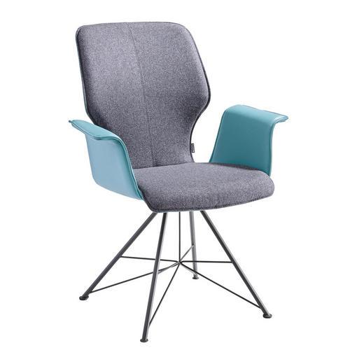 ARMLEHNSTUHL Grau, Grün - Grau/Grün, Design, Leder/Textil (73/95/63cm) - Musterring