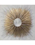 Abstraktes KEILRAHMENBILD  - Goldfarben/Weiß, LIFESTYLE, Holz/Textil (100/100cm)