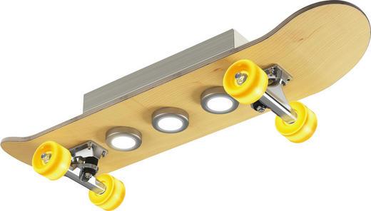 LED-DECKENLEUCHTE - Edelstahlfarben, Design, Holz/Metall (80/20,2/17,9cm)