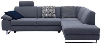 WOHNLANDSCHAFT Grau Webstoff  - Chromfarben/Grau, Design, Textil/Metall (274/198cm) - Venda