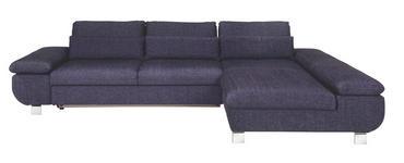 WOHNLANDSCHAFT Blau, Lila Webstoff - Blau/Chromfarben, Design, Textil/Metall (313/203cm) - Venda