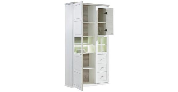 VITRINE in Grau, Weiß - Weiß/Grau, LIFESTYLE, Glas/Holzwerkstoff (110/209/43cm) - Hom`in