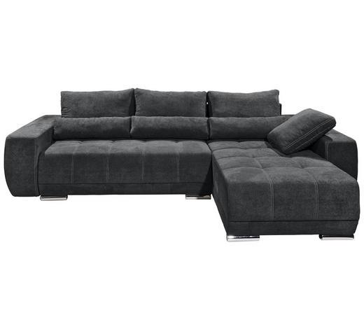 WOHNLANDSCHAFT in Textil, Holzwerkstoff Anthrazit - Anthrazit/Silberfarben, MODERN, Holzwerkstoff/Kunststoff (305/189cm) - Carryhome