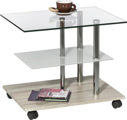 BEISTELLTISCH rechteckig Eichefarben, Klar, Weiß - Klar/Eichefarben, Design, Glas/Metall (55/47/40cm) - XORA