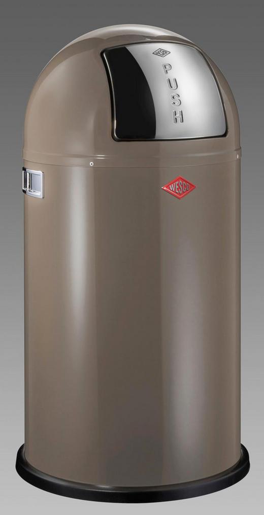 ABFALLSAMMLER PUSHBOY 50 L - Hellbraun/Edelstahlfarben, Kunststoff/Metall (40/75,5cm) - Wesco