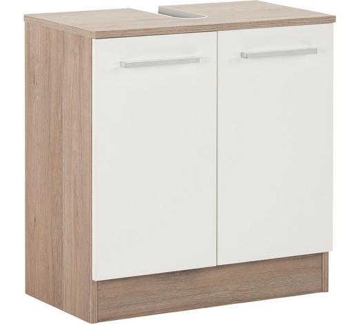 SPODNÍ SKŘÍŇKA POD UMYVADLO, barvy dubu - bílá/barvy dubu, Design, kov/kompozitní dřevo (60/62/33cm) - Xora