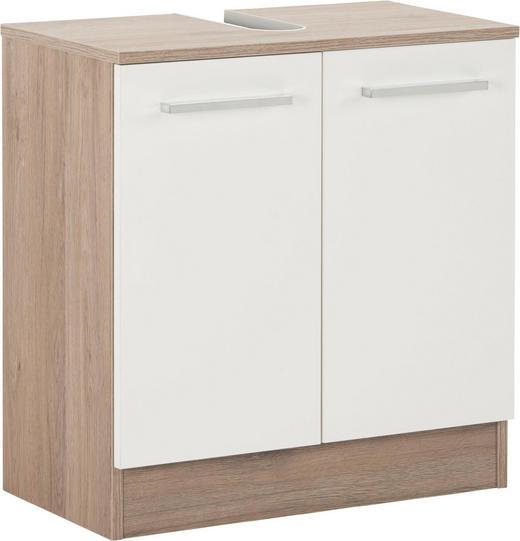 WASCHBECKENUNTERSCHRANK Weiß - Chromfarben/Eichefarben, Design, Holzwerkstoff/Metall (60/62/33cm) - Carryhome