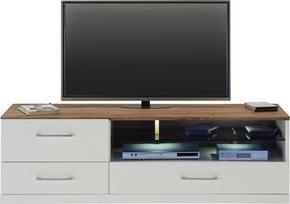 MEDIABÄNK - vit/akaciefärgad, Design, trä (160/49/50cm) - Premium Living