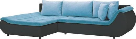 WOHNLANDSCHAFT Webstoff Rückenkissen, Schlaffunktion, Zierkissen - Blau/Schwarz, Design, Kunststoff/Textil (185/310cm) - Carryhome