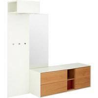 GARDEROBE - Eichefarben/Weiß, Design, Glas/Holz (212,4/210,8/49,2cm) - Hülsta
