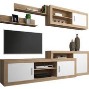 WOHNWAND Sonoma Eiche, Weiß   Alufarben/Schwarz, Design,  Holzwerkstoff/Kunststoff (