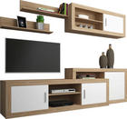 WOHNWAND Sonoma Eiche, Weiß - Alufarben/Schwarz, Design, Holzwerkstoff/Kunststoff (250/180/41,4cm) - Carryhome