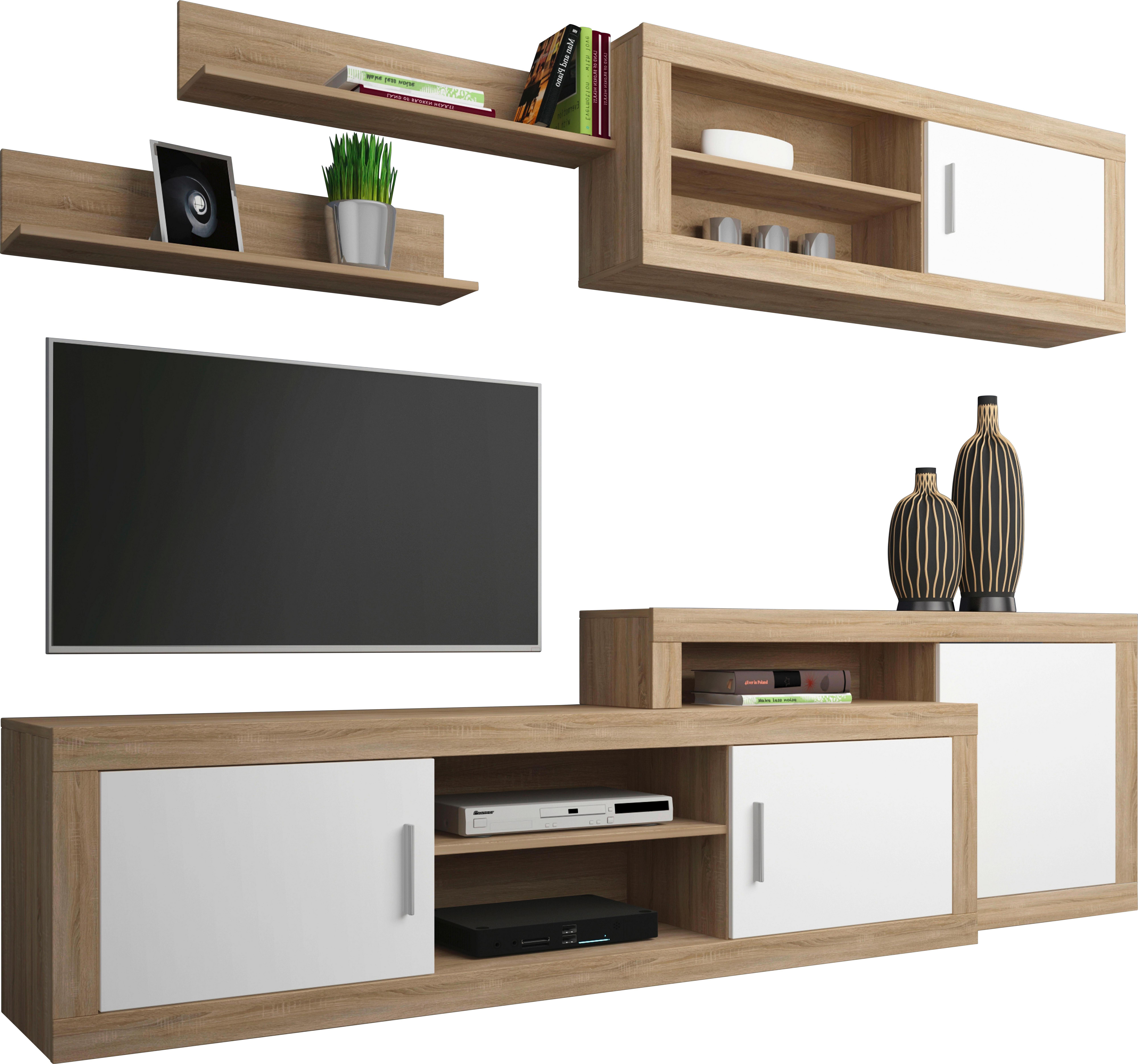 Gut WOHNWAND Sonoma Eiche, Weiß   Alufarben/Schwarz, Design,  Holzwerkstoff/Kunststoff (