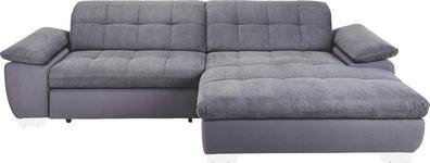 WOHNLANDSCHAFT in Textil Grau  - Chromfarben/Grau, Design, Textil/Metall (265/180cm) - Carryhome
