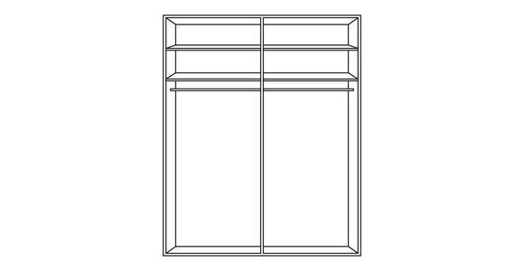 SCHWEBETÜRENSCHRANK in Grau, Weiß  - Alufarben/Weiß, KONVENTIONELL, Glas/Holzwerkstoff (201/223/69cm) - Cantus