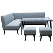 LOUNGESOFA - Dunkelgrau/Grau, Design, Glas/Textil (184/222cm) - Amatio