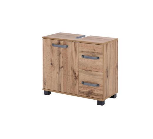 WASCHBECKENUNTERSCHRANK Eichefarben  - Eichefarben/Schwarz, KONVENTIONELL, Holzwerkstoff/Metall (65,1/59/32cm) - Stylife
