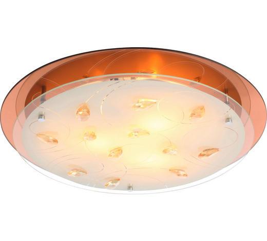DECKENLEUCHTE - Champagner/Braun, LIFESTYLE, Glas/Metall (33,5/8,5cm)