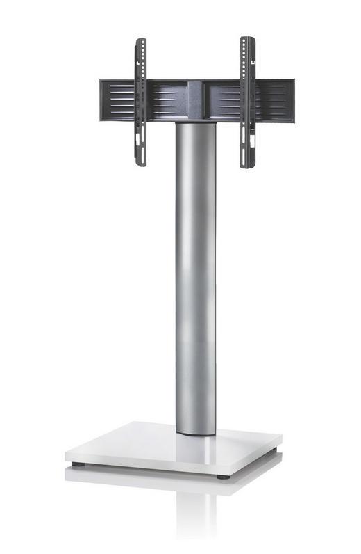 TV-RACK Metall Silberfarben, Weiß - Silberfarben/Weiß, KONVENTIONELL, Metall (68/130/54cm)