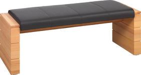 HOCKERBANK 150/49/50 cm  in Buchefarben, Dunkelbraun - Dunkelbraun/Buchefarben, Design, Leder/Holz (150/49/50cm) - Voleo