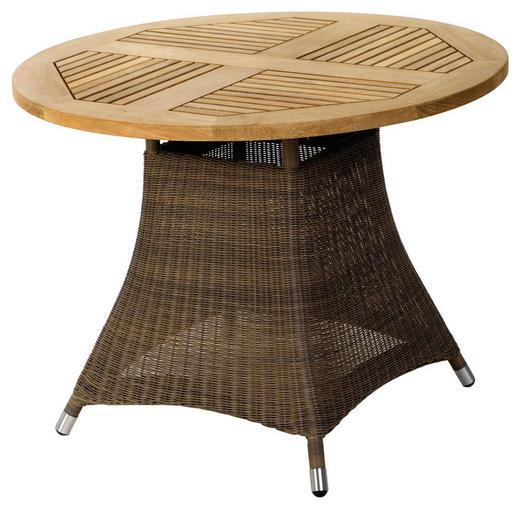 GARTENTISCH Holz, Kunststoff, Metall Braun, Naturfarben - Braun/Naturfarben, Design, Holz/Kunststoff (100/75cm) - Zebra Süd