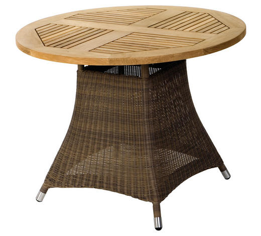 Gartentisch Holz Kunststoff Metall Braun Naturfarben Online