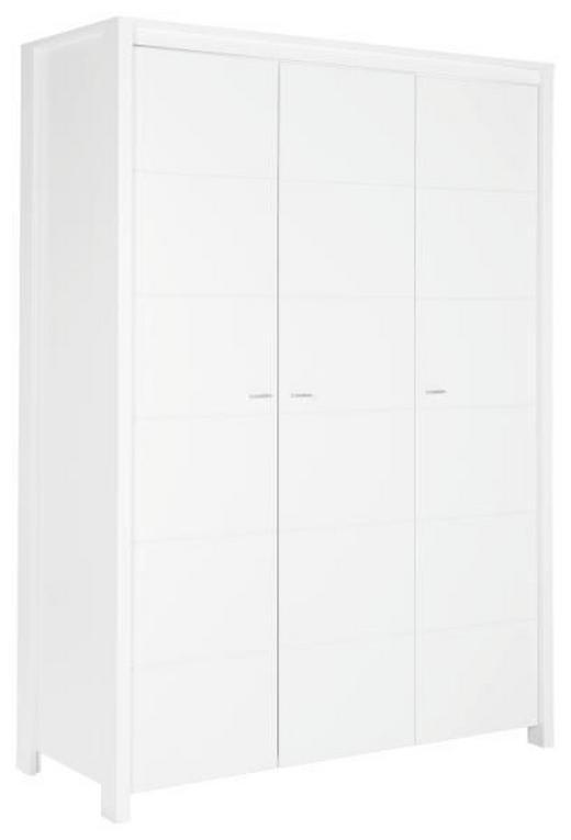 BABYKLEIDERSCHRANK - Alufarben/Weiß, Basics, Holzwerkstoff/Metall (135/188/55cm) - MY BABY LOU