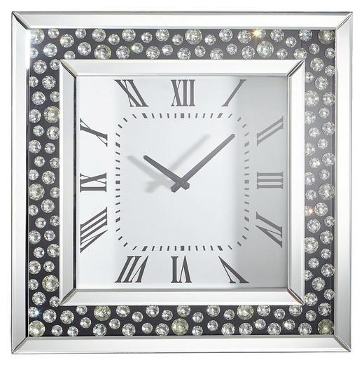 WANDUHR  Schwarz, Silberfarben - Silberfarben/Schwarz, Design, Glas (50/50/5cm) - Xora