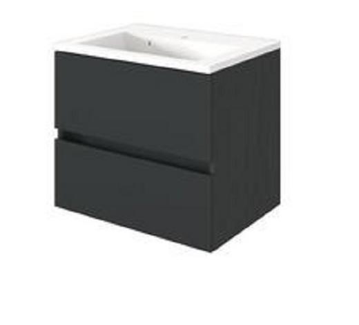 WASCHTISCHKOMBI Graphitfarben  - Graphitfarben/Weiß, Design, Keramik/Holzwerkstoff (60/55/35cm) - Carryhome