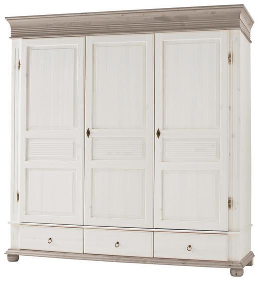 KLEIDERSCHRANK 3-türig Kiefer massiv Grau, Weiß - Weiß/Grau, Design, Glas/Holz (196/219/63cm) - Carryhome